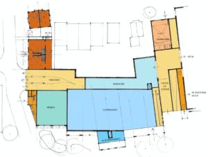 plattegrond tekening wonen en winkel